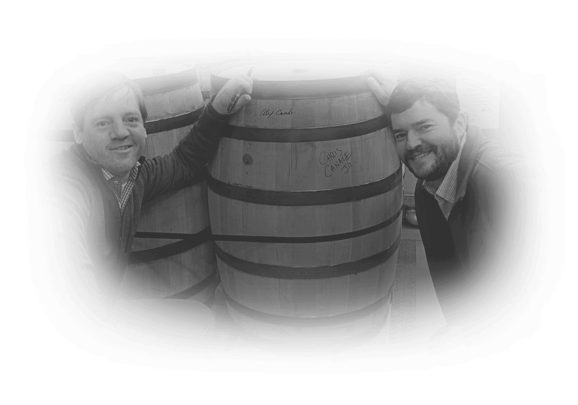 Chris and Alex Canale posing with barrels