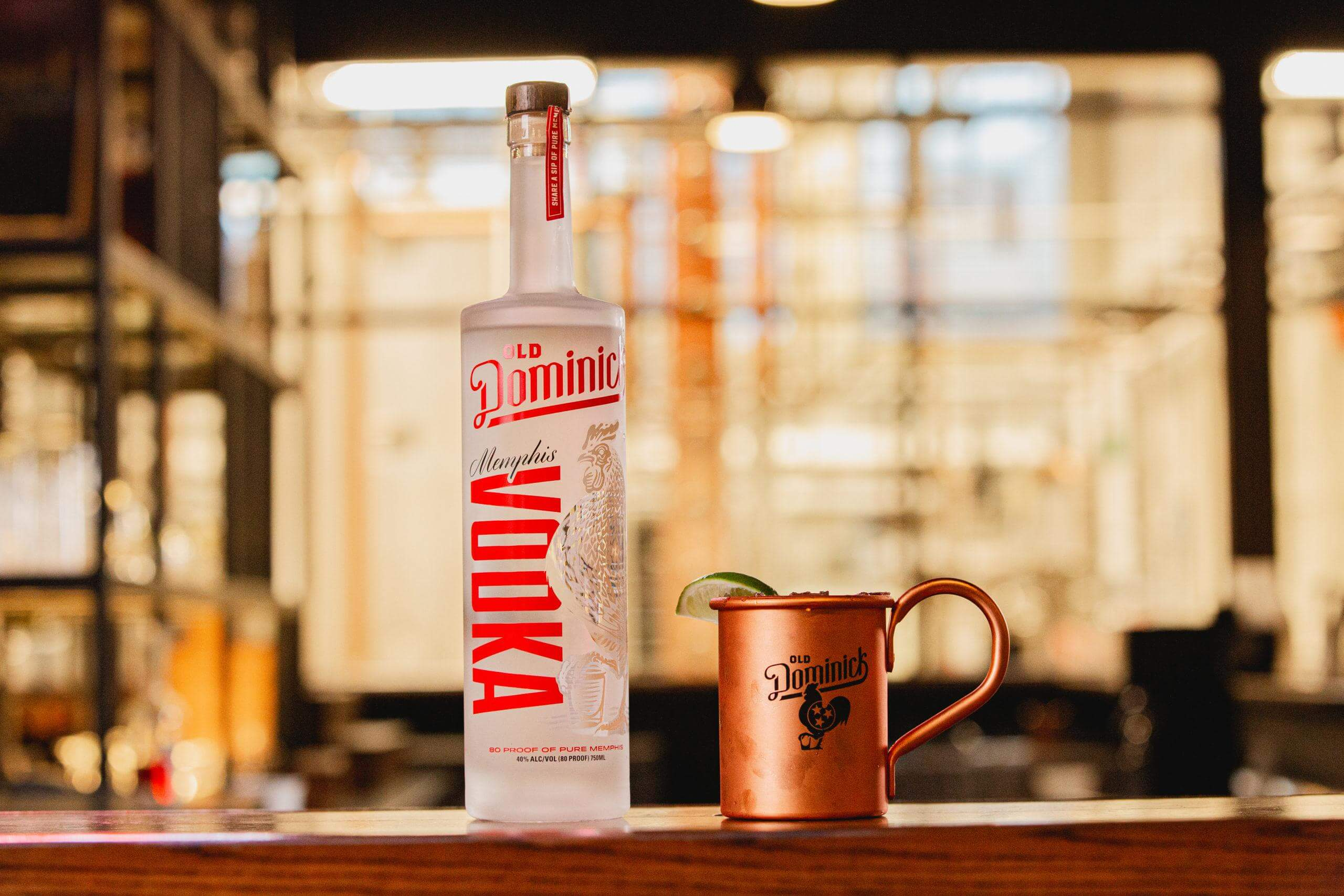 Memphis Vodka bottle and Moscow mule cocktail in copper mug