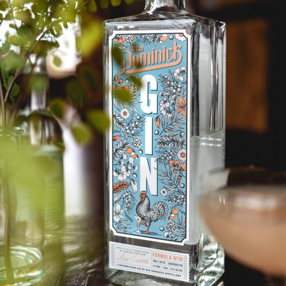 Formula Number 10 Gin bottle surrounded by plants